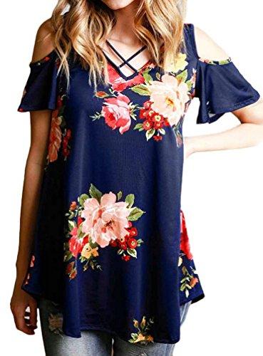 AMiERY Women's Criss Cross Cold Shoulder Shirt Casual Floral Print Blouse Tops (L, Navy Blue)