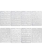 8Pcs Plastic Letter Stencil, Alphabet Stencils Plastic Lettering Number Guide Set for DIY Craft Spraying Painting Drawing Diary Scrapbook