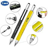 Screwdriver Pen Pocket Multi-Tool 6 in 1 – Multi-Functional & Sturdy Aluminum DIY Tool, With Screwdriver, Stylus, Bubble Level, Ruler & Phillips Flathead Bit, Unique Gift Idea 2 (Black, Yellow)