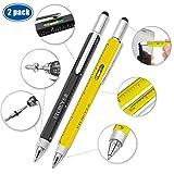Screwdriver Pen Pocket Multi-Tool 6 in 1 – Multi-Functional & Sturdy Aluminum DIY Tool, with Screwdriver, Stylus, Bubble Level, Ruler & Phillips Flathead Bit, Unique Gift Idea 2 (Black, Yellow)