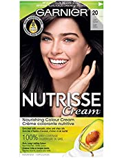 Garnier Nutrisse Cream, Permanent Hair Colour, 20 Soft Black, 100% Grey Coverage, Nourished Hair Enriched With Avocado Oil, 1 Application