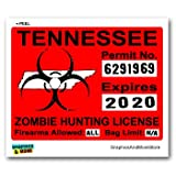 Graphics and More Tennessee TN Zombie Hunting License Permit Red - Biohazard Response Team - Window Bumper Locker Sticker