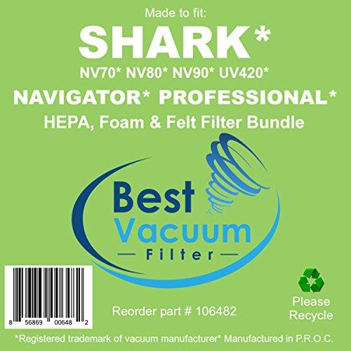 Best Vacuum Filter Compatible with Shark NV80 HEPA Filter and Foam & Felt Filter Bundle for Shark Navigator Professional Upright Vacuum NV70, NV80, NV90 & UV420 Part # XFF80