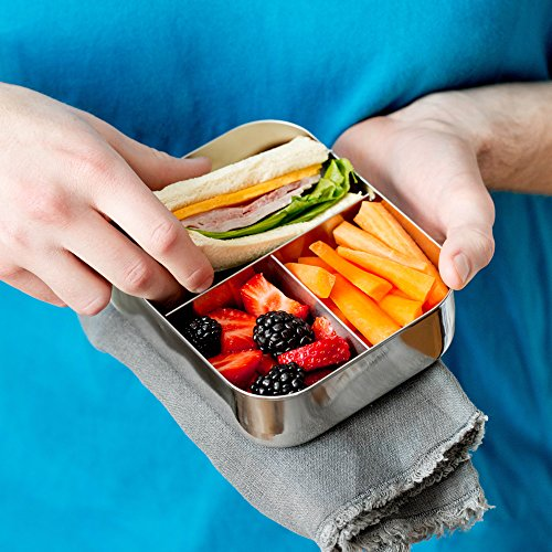 LunchBots Trio II Stainless Steel Food Container - Three Section Design Perfect for Healthy Snacks, Sides, or Finger Foods On The Go - Eco-Friendly, Dishwasher Safe and BPA-Free - All Stainless by LunchBots (Image #3)