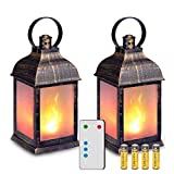 "great very small patio design ideas zkee 11"" Vintage Style Decorative Lantern,Flame Effect LED Lantern,(Golden Brushed Black,Remote Timer) Indoor Lanterns Decorative,Outdoor Hanging Lantern,Decorative Lanterns (Set of 2)"
