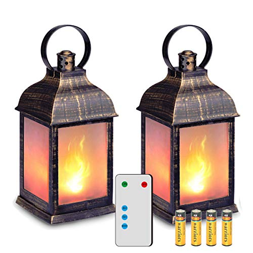 "zkee 11"" Vintage Style Decorative Lantern,Flame Effect LED Lantern,(Golden Brushed Black,Remote Timer) Indoor Lanterns Decorative,Outdoor Hanging Lantern,Decorative Lanterns (Set of 2)"
