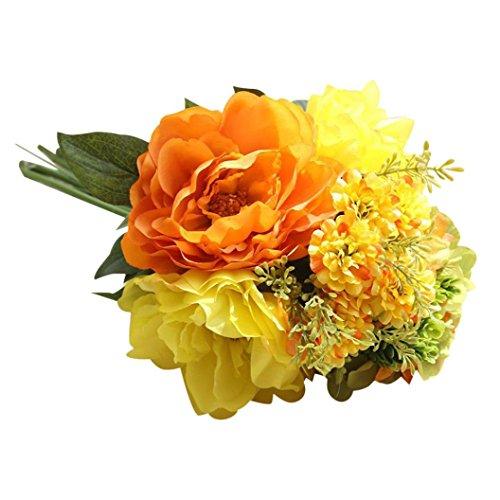 YJYdada Artificial Silk Fake Flowers Peony Floral Wedding Bouquet Bridal Hydrangea Decor (D)