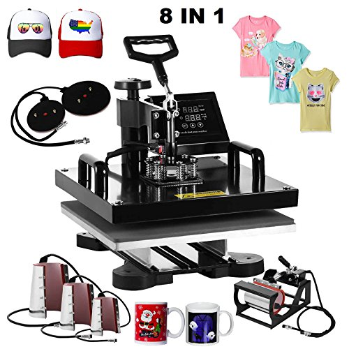 Superland 8 in 1 Multifunction Sublimation Heat Press Machine T shirts Hat Mug Cap Digital Swing Away Heat Transfer Press Machine 15 X 15 Inch (8 in 1: 15''x15'') by Superland