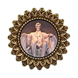GiftJewelryShop Ancient Style Gold-plated Lincoln Memorial Washington Dc Leaves Cameo Pins Brooch