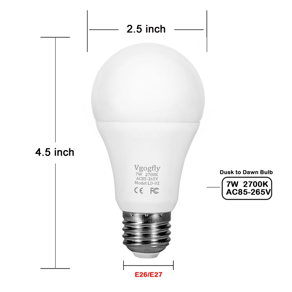 Dusk to Dawn Light Bulb Sensor Smart LED Outdoor Lighting Bulbs Lamp 7W E26/E27 Automatic On/Off, Indoor/Outdoor Yard Porch Patio Garden (Warm White, 3 Pack) by Vgogfly (Image #4)