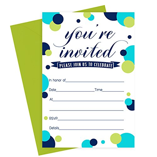 Navy Dot Invitations with Vibrant Lime Envelopes - Set of 15 Party Announcements
