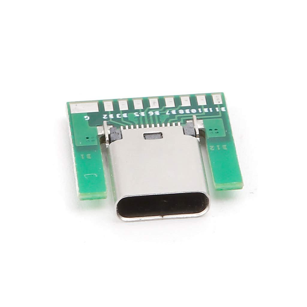 JOYKK USB 3.1 C Prise Femelle Connecteur Connecteur SMT avec Carte PC DIY 24pin Vert /& Argent