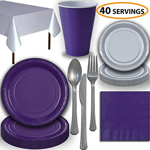 Disposable Party Supplies, Serves 40 - Purple and Silver - Large and Small Paper Plates, 12 oz Plastic Cups, Heavyweight Cutlery, Napkins, and Tablecloths. Full Two-Tone Tableware Set