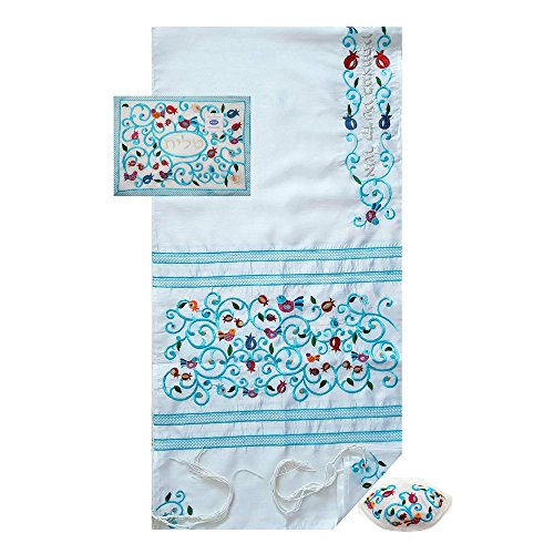 Tallit Prayer Shawl Set Pomegranates with Tallit Bag Kippah Kosher Tzitzit 78