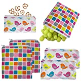 Set of 6 Reusable Kids Sandwich & Snack Bags By One Step Ahead Cloth Zipper Seal