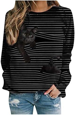 Womens Fashion Printed Long Sleeve V-neck Striped Sweatshirt Cat Cartoon Pattern Casual Pullover Tops Shirt Blouse Hoodies