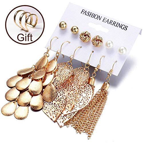 (Gold tassel earrings, Gold thick love knot post earrings,New earrings of pearl ball piercing earrings, Set hollow leaf woven earrings,Brushed satin gold plated dangle earrings, Women gifts (6)