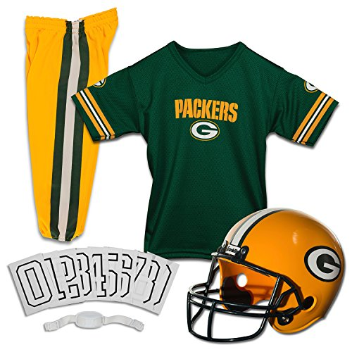 Franklin Sports NFL Green Bay Packers Deluxe Football Uniform Set- Medium -