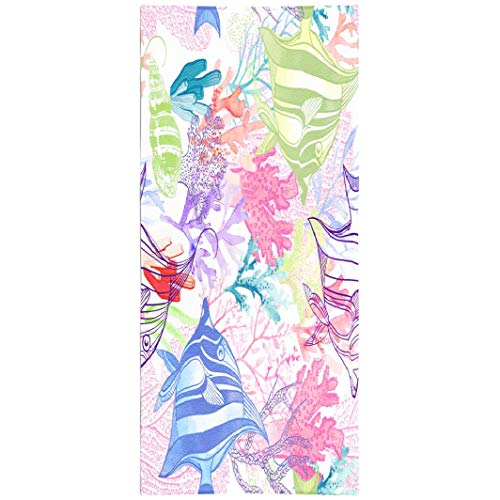Soopat Beach Towel,Watercolor Coral Reef Pattern White Natural Texture Wallpaper Fabric Abstract 30x60 Inch Outdoors Sand Free Beach Blanket for Travel Sports Beach Yoga Water - Sand Bed Reef