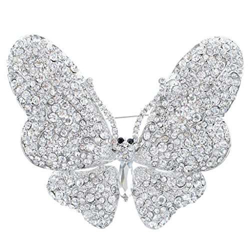 EVER FAITH Women's Austrian Crystal Butterfly Brooch Clear Silver-Tone