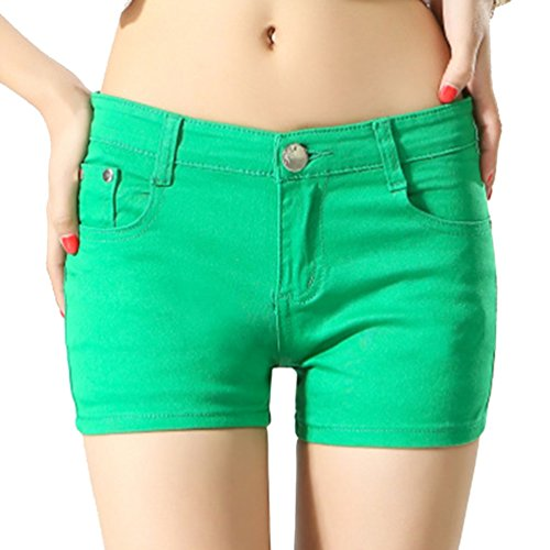 Cayuan Womens Jeans Shorts Slim Denim Short Trousers Boyfriend Hotpants with Pockets Summer Green