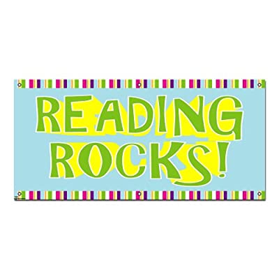 "Graphics and More Reading Rocks - Classroom School Teachers Business Sign Banner - 46"" (width) X 22"" (height)"