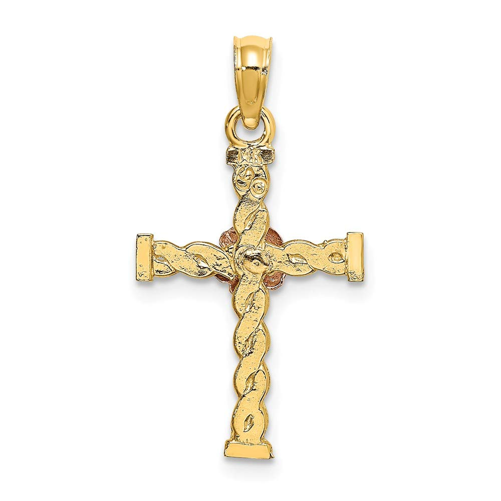 Jewels By Lux 14K Yellow and Rose Two Tone Gold Twisted Cross with Pink Flower Pendant