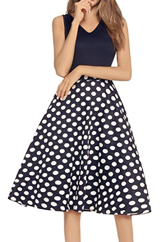 Pleated Sleeveless Dresses Neck V Waist Accept Swing Women Flare Blue Cromoncent Printed TwOqac5