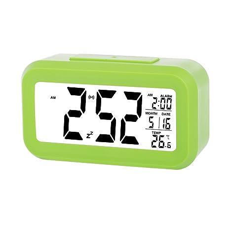skynature Reloj LED reloj despertador digital pantalla grande Fecha, día del reloj