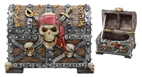 Ebros Large Pirate Ghosts Of The Caribbean Pirate Marauder Skull With Criss Cross Blades Treasure Chest Box Jewelry Box Figurine 7.25