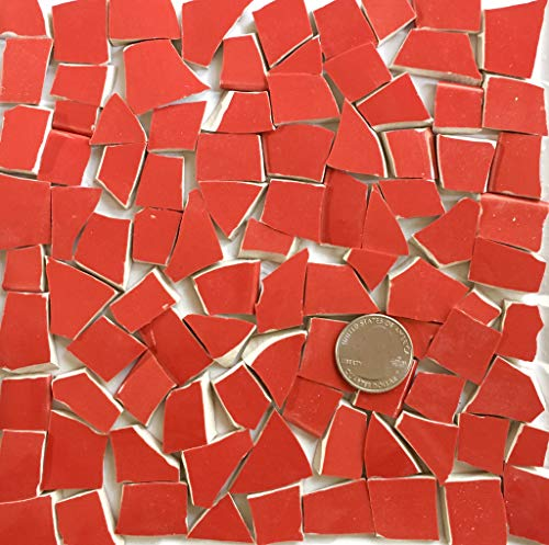 - Broken China Mosaic Tile Art Supply for Crafts ~ Bright Red Tiles (T#A328)