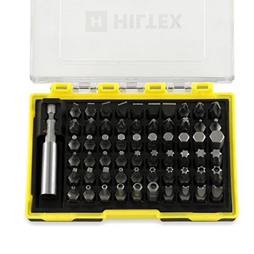 Hiltex 10060 1/4-inch Hex Shank Security Bit with Magnetic Extension Bit, 61 Piece Set | CR-V Steel