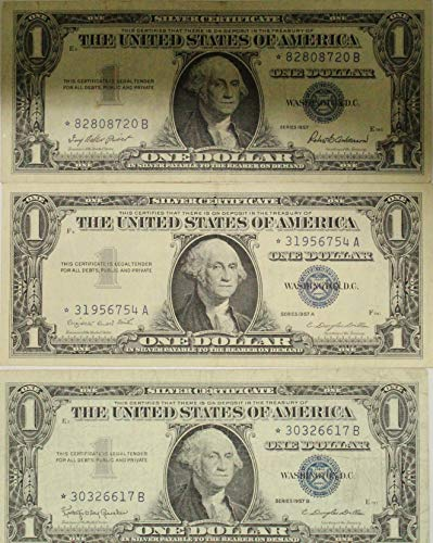 - 1957 *STAR* Notes Series Plain A & B Silver Certificates in Very Good Condition Lot of (3)