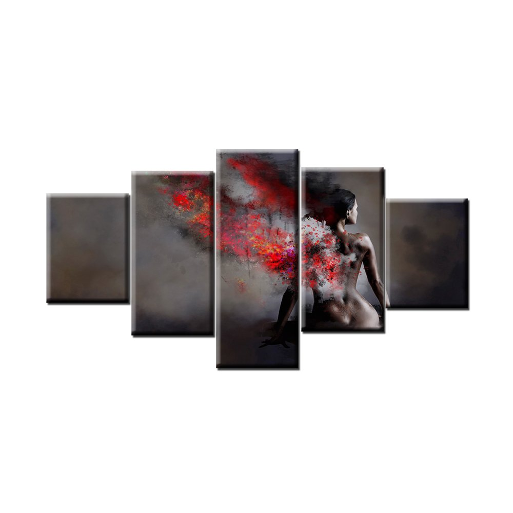 5pcs/set Canvas Oil Paintings -Sexy Nude Woman Canvas Prints For Bedroom Wall Decor,Naked Girl Body Art Painting Printed on Canvas,Framed and Stretched