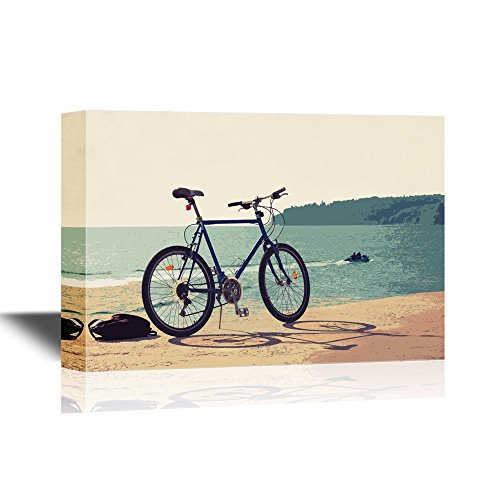 wall26 - Canvas Wall Art - Bicycle Stands on Concrete Pier, Black Sea Coast, Bulgaria, Varna. - Gallery Wrap Modern Home Decor | Ready to Hang - 12x18 inches ()