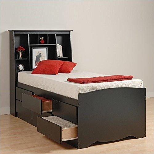 Prepac Black Sonoma Tall Twin Bookcase Platform Storage (Sonoma Black Twin Bookcase Headboard)