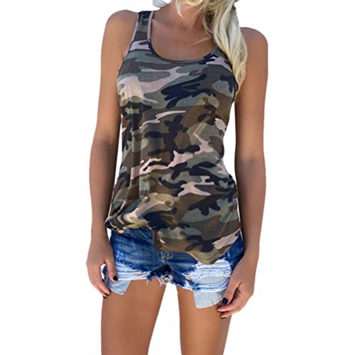 Zhhlinyuan Moda Lady Vest Tops Camouflage Wild Sleeveless T-shirts Large Size para Womens Summer Green