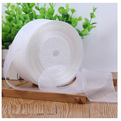 HG-X White Color Fashion Pastel Color Premium Quality Shimmer Sheer Organza Ribbon Chiffon Ribbon-50 Yards