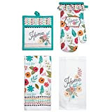 Kay Dee Designs Home Comfort Kitchen Towel Set (4 pc) - Pocket Mitt, Oven Mitt, 2 Hand Towels - Summer Floral Dish Cloths