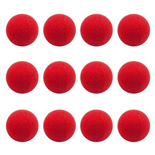 12Pcs Red Foam Clown Noses for Party Halloween Costume Supplies