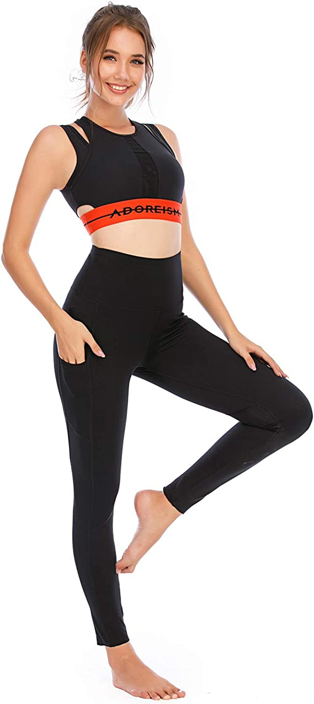 HUGE SPORTS High Waist Women Yoga Pants with Pocket Peach Shaping Butt Lifting Legging