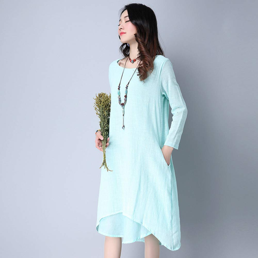 bluee Cxlyq Dresses Cotton Long Sleeves Dress Fake Two Large Size Loose Dress