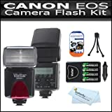 Flash Kit For Canon EOS Rebel T4I T3i T3 EOS 70D Digital SLR Camera Includes Vivitar DF-293 TTL LCD Bounce Zoom Swivel DSLR AF Flash w/LCD Display Includes Reflecting Plate And Wide Angle Flash Diffuser + 4 AA High Capacity Rechargeable NIMH Batteries ++