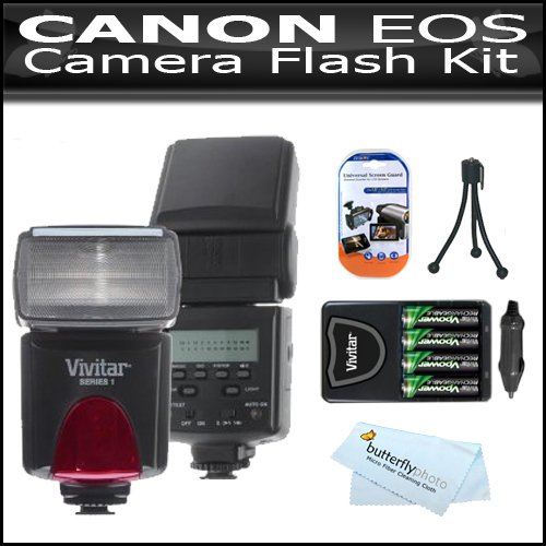 Flash Kit For Canon EOS Rebel T4I T3i T3 EOS 70D Digital SLR Camera Includes Vivitar DF-293 TTL LCD Bounce Zoom Swivel DSLR AF Flash w/LCD Display Includes Reflecting Plate And Wide Angle Flash Diffuser + 4 AA High Capacity Rechargeable NIMH Batteries ++ by Vivitar