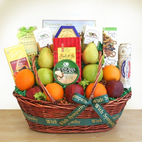 Sympathy Gift Basket | Fruit Meat Cheese Nuts and More