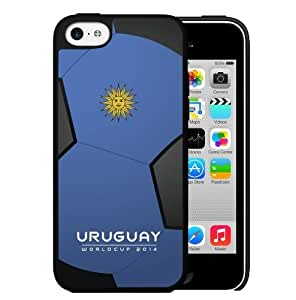 MMZ DIY PHONE CASEUruguay World Cup 2014 Professional Soccer Sports Team with Light Blue and Black Soccer Ball Background Hard Snap on Cell Phone Case Cover iPhone (5c)