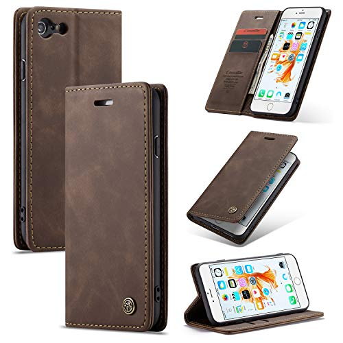 QLTYPRI iPhone 6 6S Case, Vintage Wallet Flip Cover Premium PU Leather with Multi-Functional [Card Slots] [Kickstand] [Magnetic Closure] for Apple iPhone 6/6S - Coffee (Cowhide Flap)