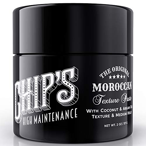 Chips High Maintenance Moroccan Texture Paste - with Coconut & Argan Oil for Hair, Pomade for Men and Hair Putty for Natural Semi-Matte Medium Hold, Moisturize & Add Shine to All Hair Types (2 oz)