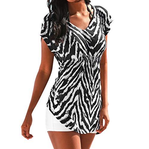 Usstore  Womens Shirt Zebra Print Boho Summer Fashion Casual Elastic Waist V-Neck Short Sleeve Beach Tank Tops T-Shirt (L2, Black) -