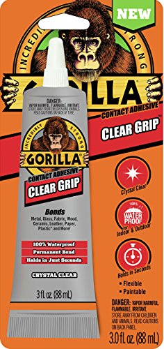 Gorilla Clear Grip Contact Adhesive, Waterproof, 3 ounce, Clear, (Pack of 1) ()